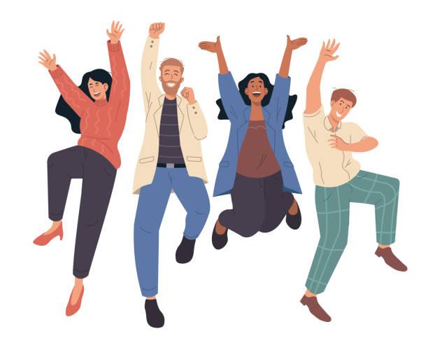 bildbanksillustrationer, clip art samt tecknat material och ikoner med glada människor hoppar firar seger. illustration av platta seriefigurer - lycka