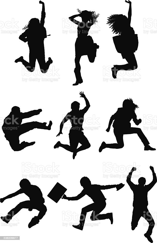 happy people jumping for joy stock vector art amp more