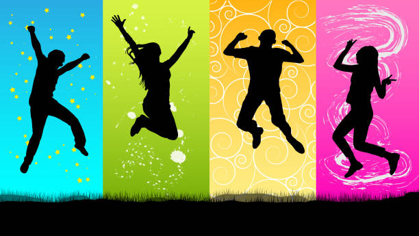 happy people jumping silhouette - jumping stock illustrations