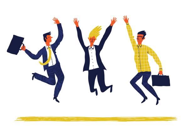 Glückliche Menschen springen – Vektorgrafik