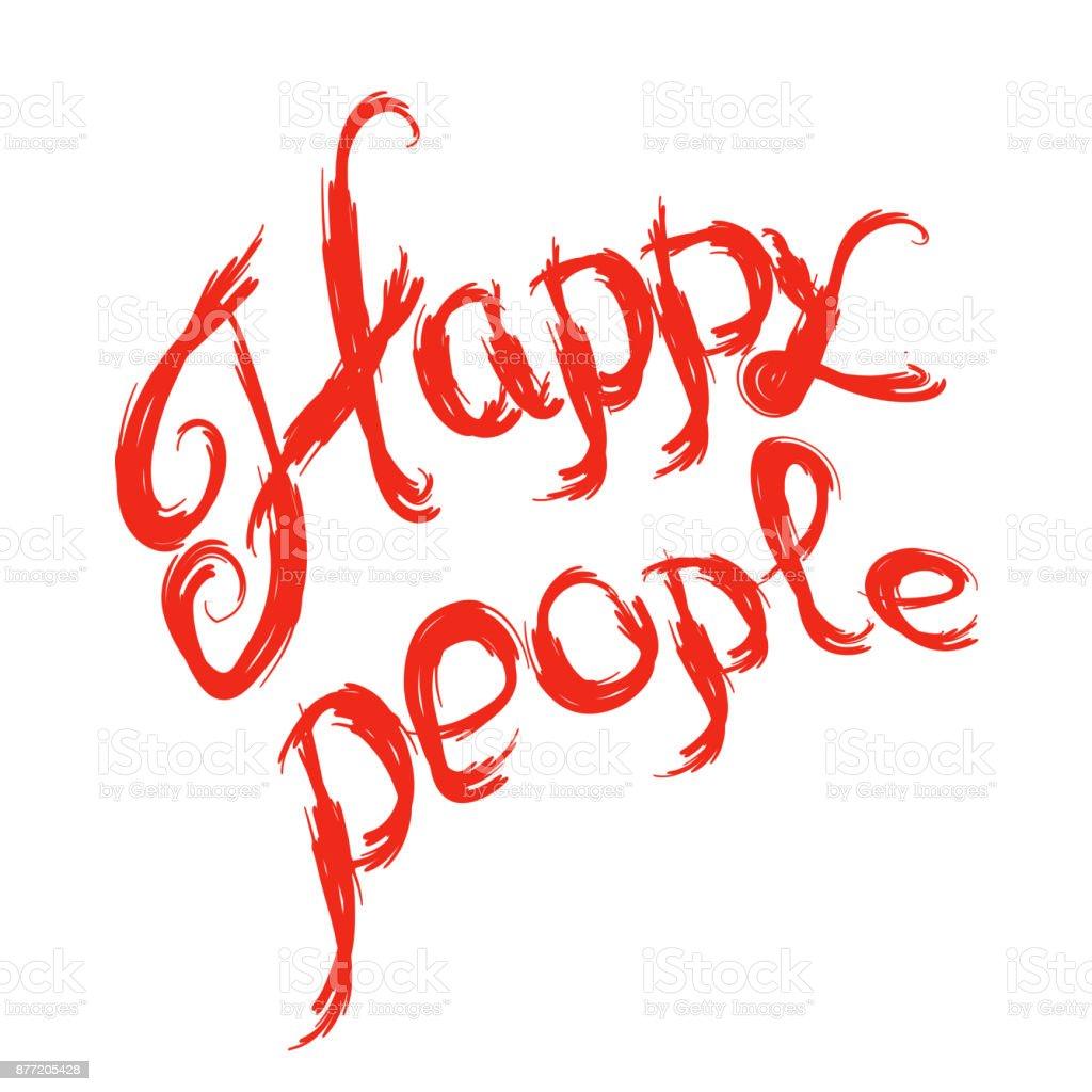 Vetores De Pessoas Felizes Letras Positiva Citação Frase