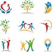 Happy people logos and icons
