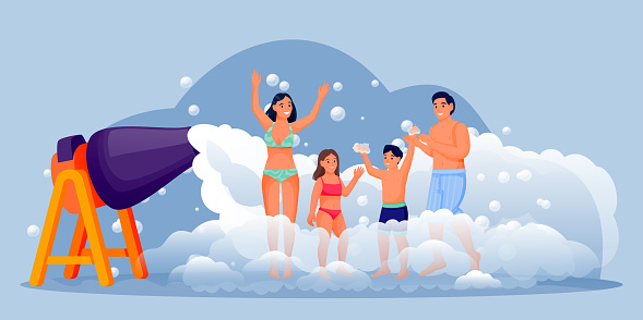 Happy people on foam club party. Family with two kids have fun vacation. Vector flat cartoon characters illustration