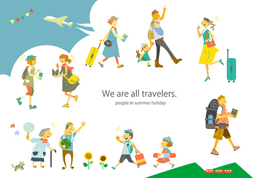 happy people on summer vacation, colorful travel  frame