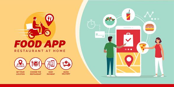 Happy People Ordering Food Online On A Smartphone - Arte vetorial de stock e mais imagens de A usar um telefone