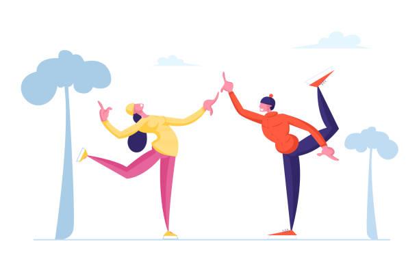 bildbanksillustrationer, clip art samt tecknat material och ikoner med lyckliga människor som utför fritid utomhusaktiviteter på winter park konståkning på ishallen. jullov fritid nöje. manliga kvinnliga karaktärer skaters tecknad platt vektor illustration - street dance