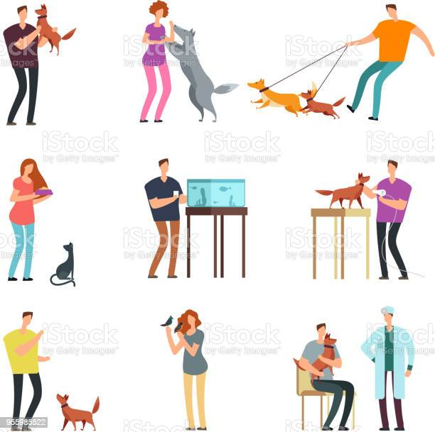 Happy people pet owner man women and family training and playing with vector id955985522?b=1&k=6&m=955985522&s=612x612&h=knneh5oukpucnowr1wk0us y0771nh2h 5ylulg3874=