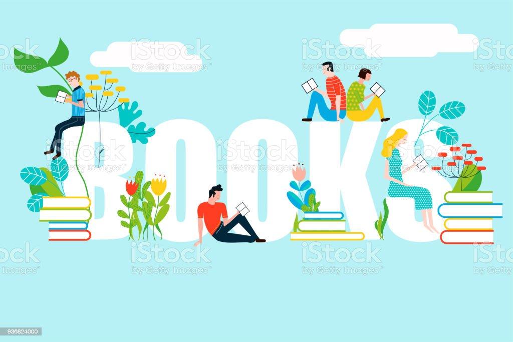 書籍本文 - 背景に分離されたベクトル カラフルなイラストで読む幸せな人 ベクターアートイラスト