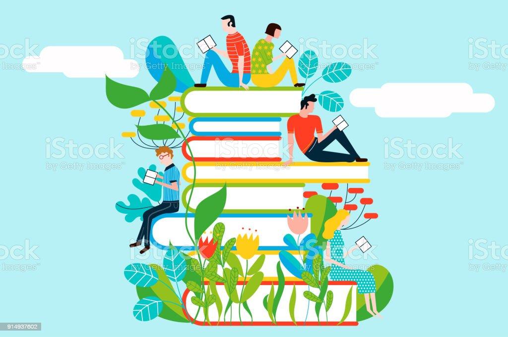 Pessoas felizes, lendo na torre de livros - colorida ilustração vetorial, isolada no fundo - ilustração de arte em vetor