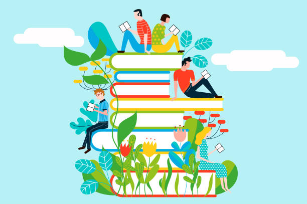 Happy people reading on tower of books - vector colorful illustration isolated on background vector art illustration