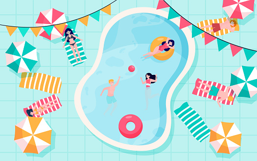 Happy people relaxing at swimming pool