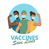 istock Happy people showing their arms after receiving covid-19 vaccination 1319767657