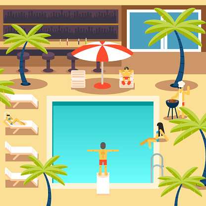 Happy People Sunny Pool Hotel Summer Vacation Tourism Journey Symbol
