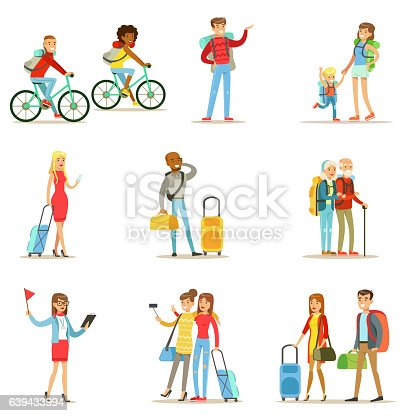 istock Happy People Traveling And Having Camping Trips Set 639433994