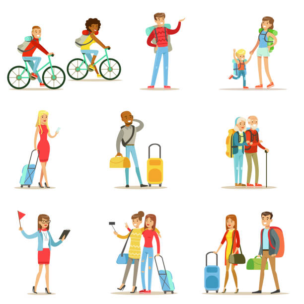 ilustraciones, imágenes clip art, dibujos animados e iconos de stock de happy people traveling and having camping trips set - viajes familiares