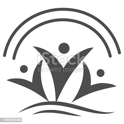 istock Happy people under rainbow solid icon, life without addiction concept, anti drug sign on white background, Narcotics free people icon in glyph style for mobile concept. Vector graphics. 1285392265