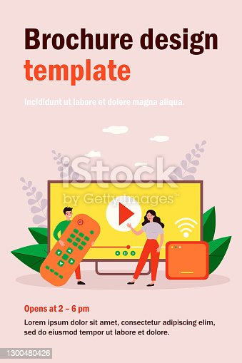 Happy people using remote control and smart tv box