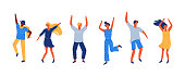 Happy young people dancing and jumping. Flat style modern illustration isolated on white background.