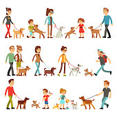 Happy people with pets. Women, men and children playing with dogs and puppes. Persons and animals friendship vector set. Happy child with dog illustration