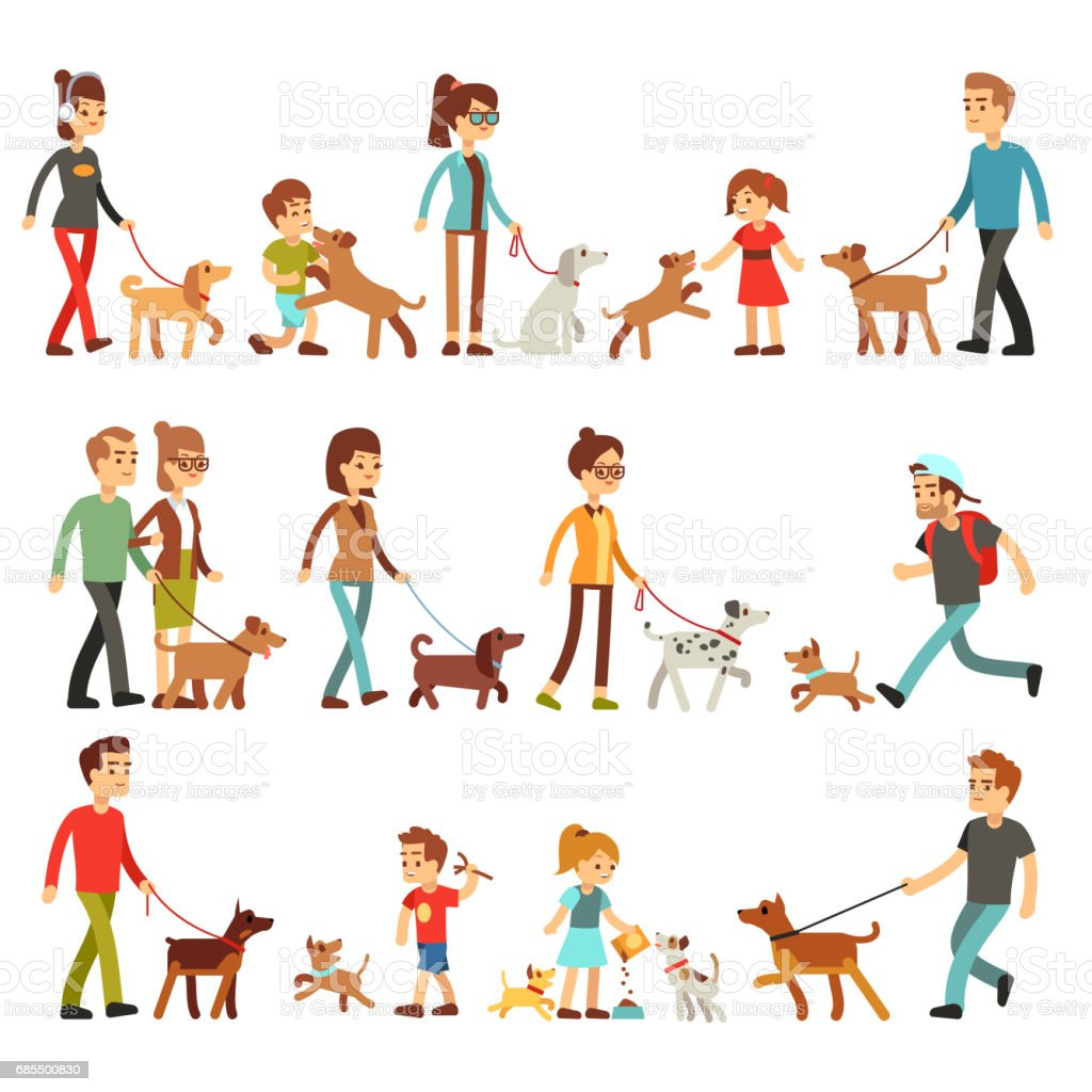 Gente feliz con las mascotas. Mujeres, hombres y niños que juegan con perros y puppes - ilustración de arte vectorial