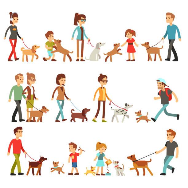 glückliche menschen mit haustieren. frauen, männer und kinder spielen mit hunden und puppes - hauswirtschaft stock-grafiken, -clipart, -cartoons und -symbole