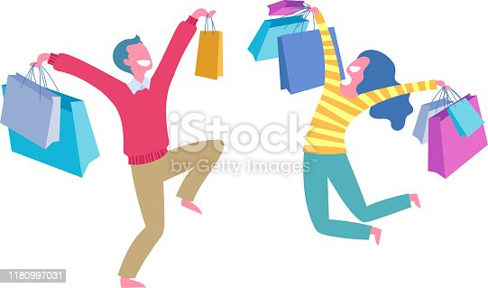Happy people with shopping bags - man and woman jumpimg and laughing.