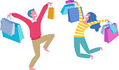 istock Happy people with shopping bags - man and woman. 1180997031