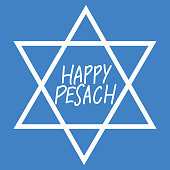 Happy Pesach vector calligraphy in center of David star on blue background.