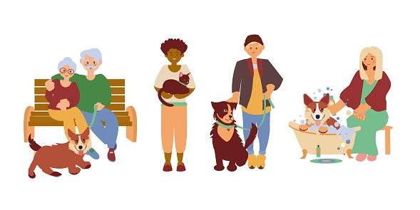 Happy pets owners Senior couple walk with corgi, african american woman hold cat, young man walk with big dog, young women wahing corgi Vector flat illustration