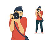Happy photographer is taking a photo using slr camera. Flat illustration of young male character standing full length and shooting. Isolated on white