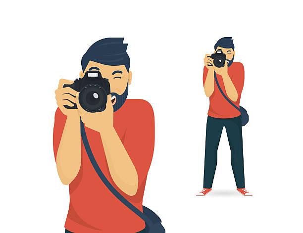 szczęśliwy fotograf jest biorąc zdjęcie - fotografika stock illustrations