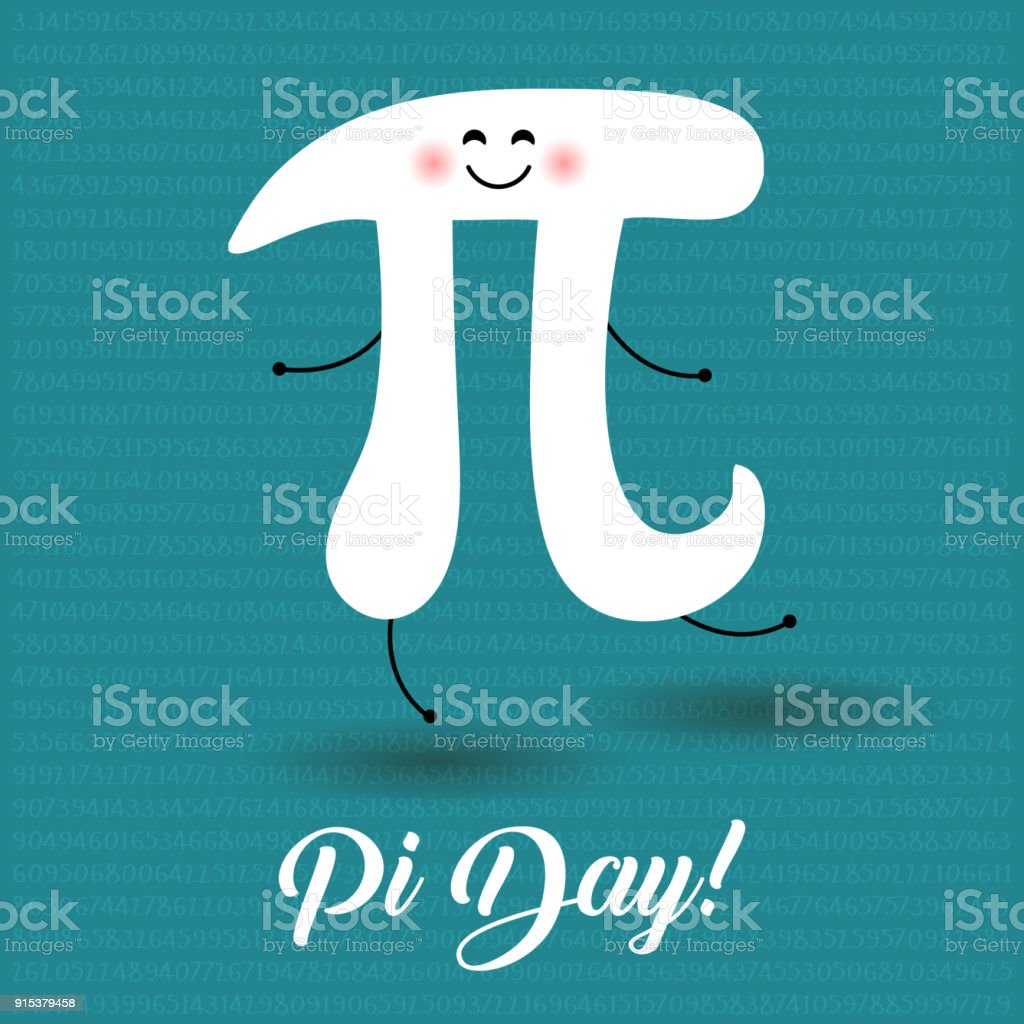 Happy Pi Day! Celebrate Pi Day. Mathematical constant. March 14th (3/14). Ratio of a circle's circumference to its diameter. Constant number Pi. Party poster. Dancing Pi letter vector art illustration