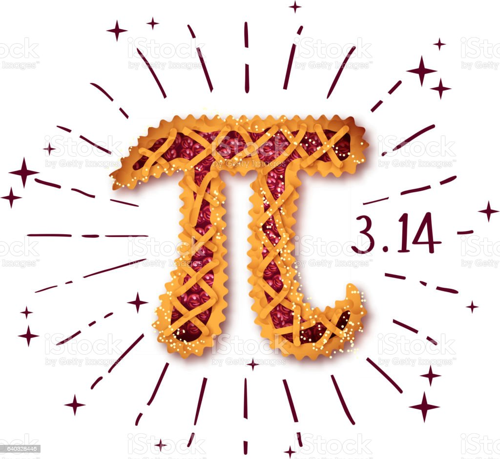 Happy Pi Day! Cherry pie vector art illustration