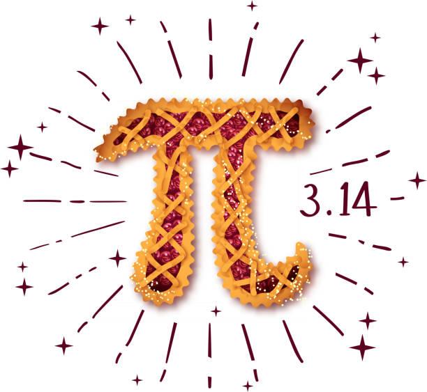 happy pi day! cherry pie - pie stock illustrations, clip art, cartoons, & icons