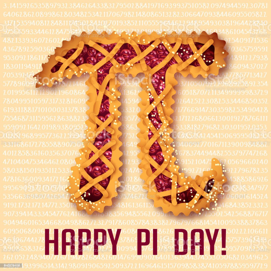 Happy Pi Day! Cherry pie vector art illustration