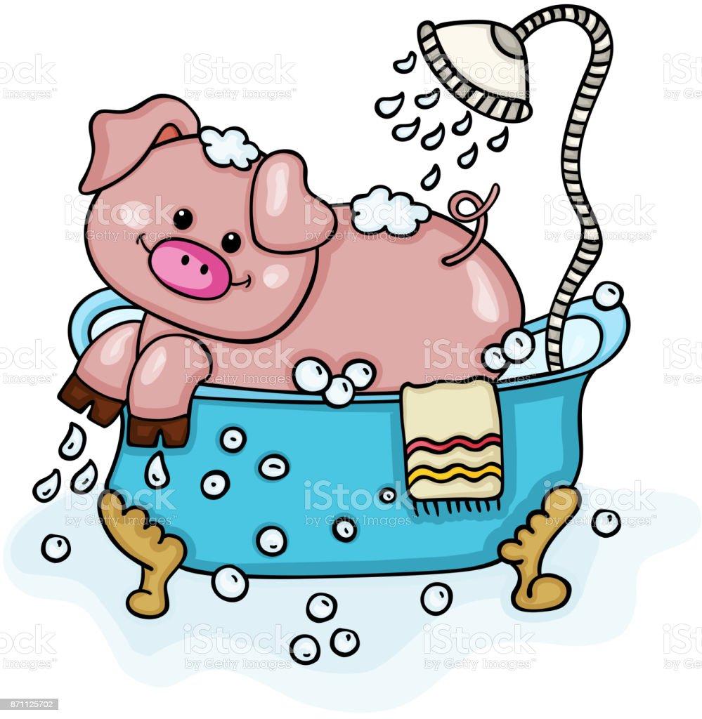 Dusche clipart  Glückliches Schwein In Badewanne Mit Dusche Stock Vektor Art und ...