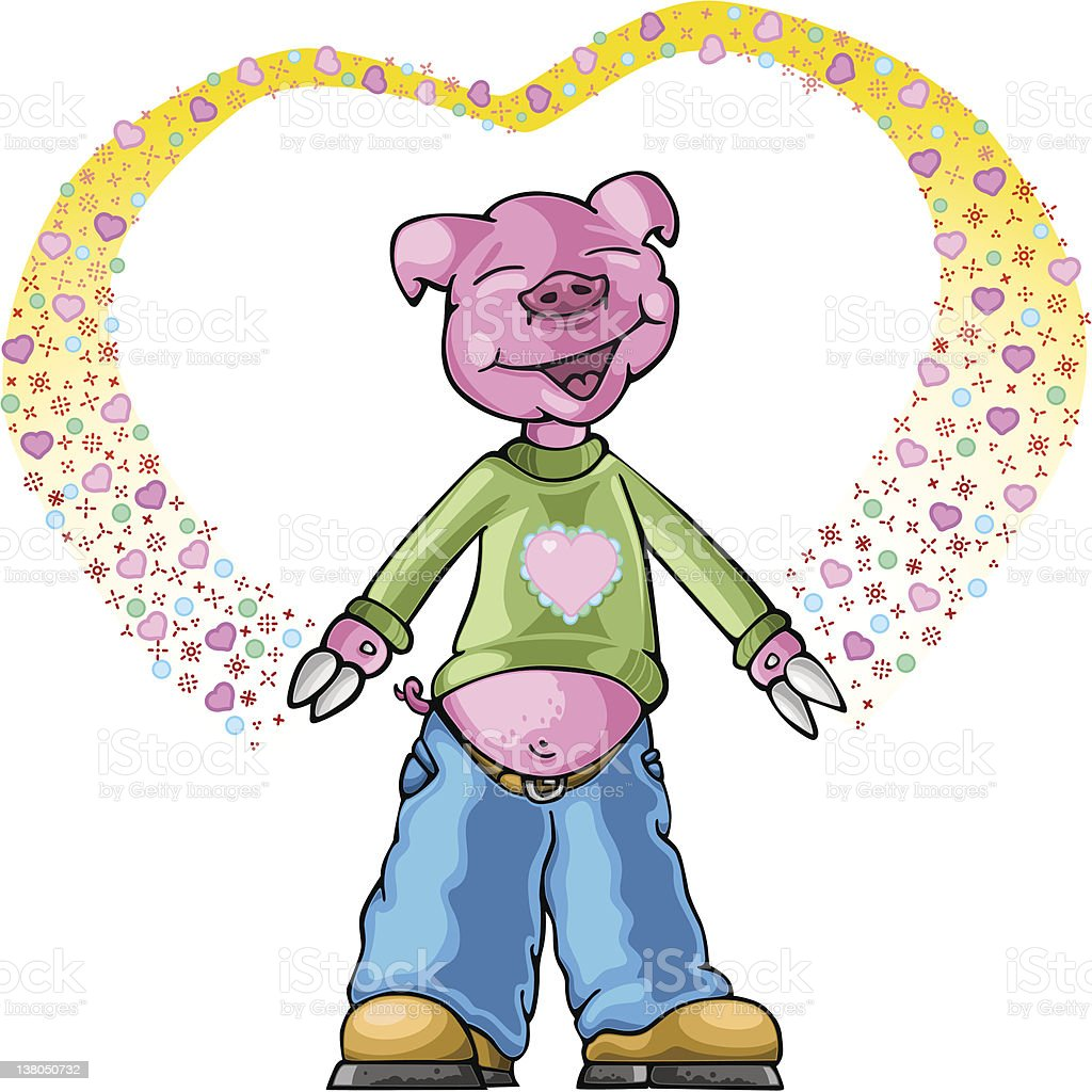 Happy pig in ornamental heart (vector) vector art illustration