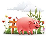 Happy Pig. High Resolution JPG,CS5 AI and Illustrator EPS 8 included. Each element is named,grouped and layered separately.