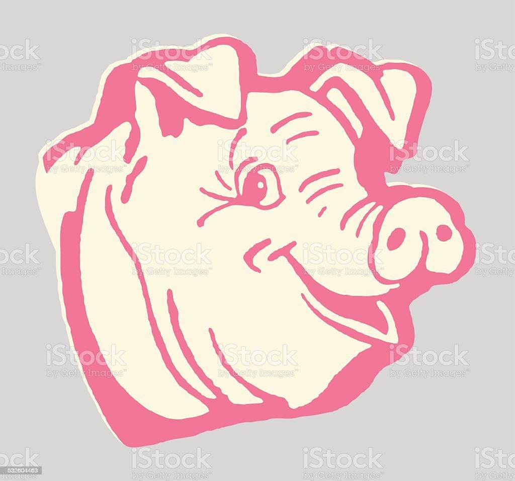 Happy Pig vector art illustration