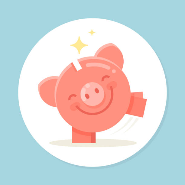 Happy piggy bank are dancing. Concept of successful investment and money savings. Modern vector money box icon. Happy piggy bank are dancing. Concept of successful investment and money savings. Modern vector money box icon. piggy bank stock illustrations
