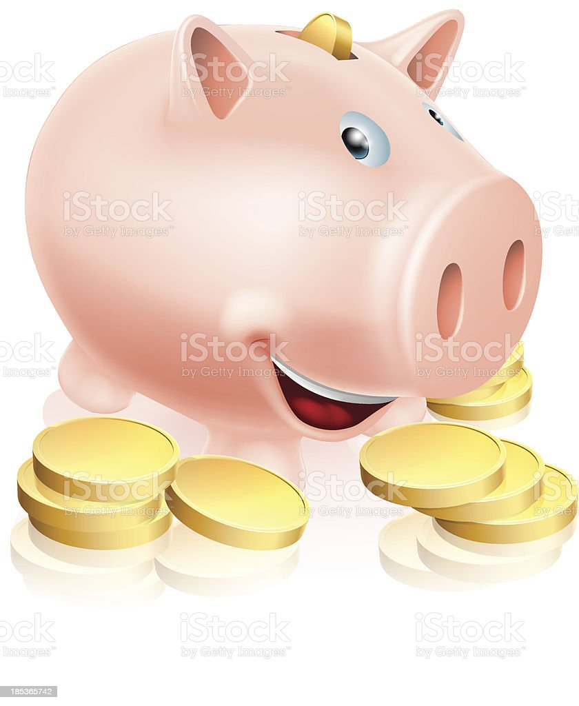 Happy Piggy Bank royalty-free stock vector art