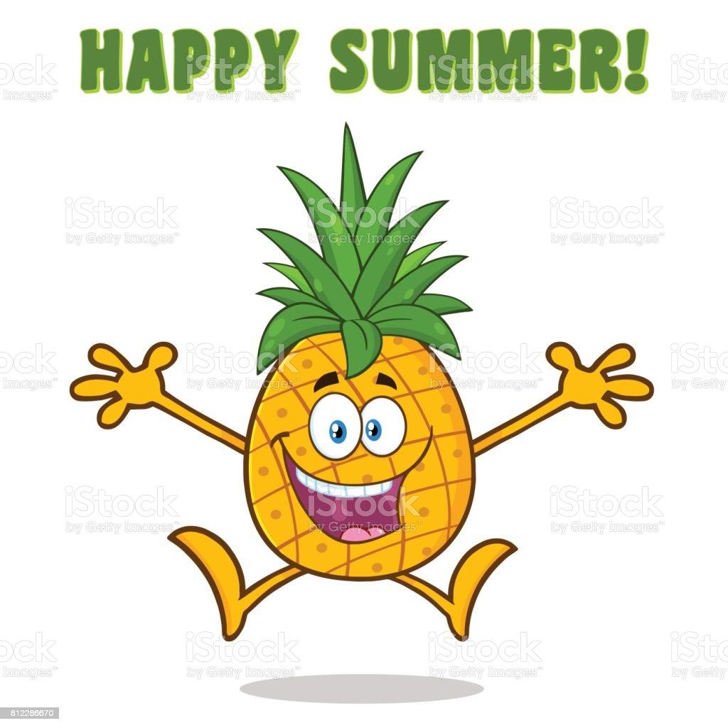 45c3f5e54 Fruta piña feliz con verde hojas de personaje de mascota de dibujos  animados con los brazos