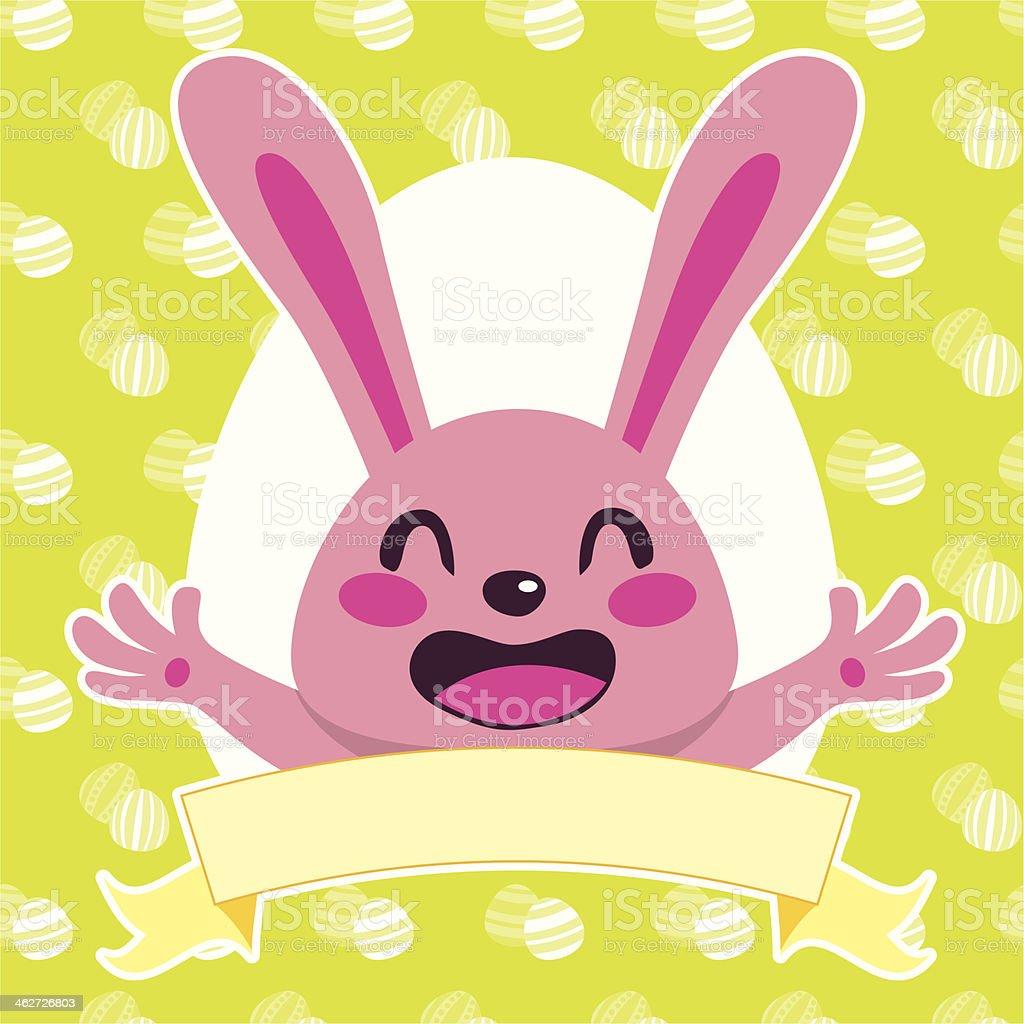 Happy Pink Bunny royalty-free stock vector art