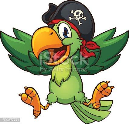 istock Happy pirate parrot 500277771