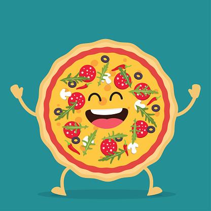 Happy pizza cartoon character.