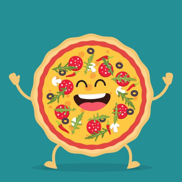 ilustraciones, imágenes clip art, dibujos animados e iconos de stock de personaje de dibujos animados de pizza feliz. - pizza