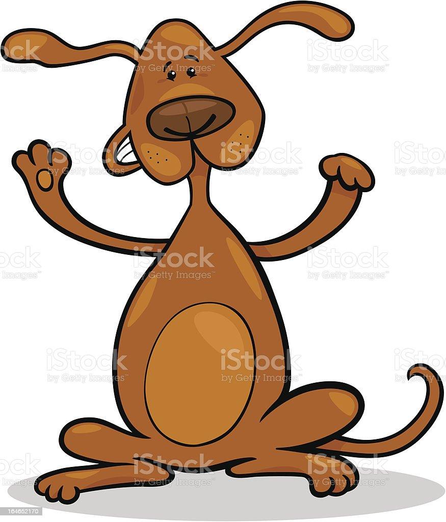 happy playful standing dog cartoon vector art illustration