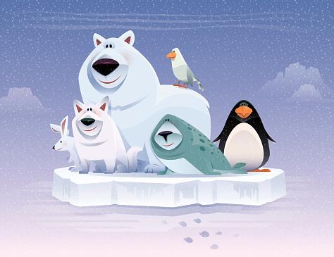 happy polar animals gathering