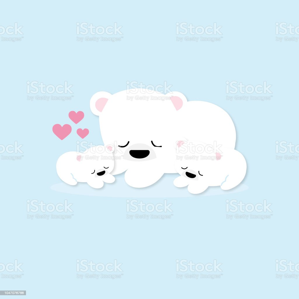 Happy Polar Bear Family With Heart Stock Illustration Download