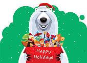 vector illustration of happy polar bear holding carton of toys